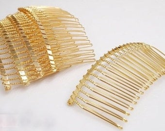 Gold Tone Wire Hair Combs - 5pcs - Gold Hair Combs