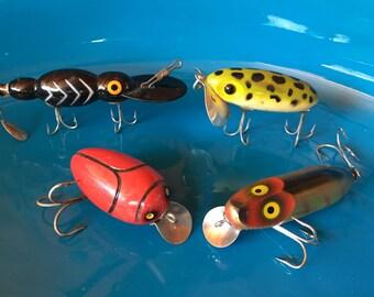 Fisherman fun!  Four fabulous vintage wood fishing lures
