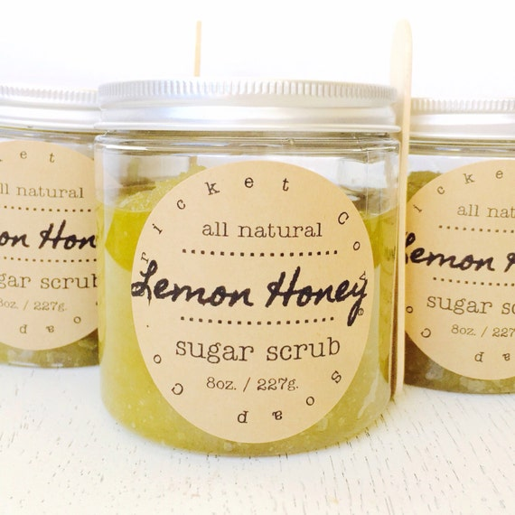 Lemon Honey Sugar Scrub - Natural Sugar Scrub - body scrub - lip scrub