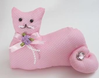 Cat Shape Pillow, Pink Cat, Kitten Stuffed Animal, Decorative Cat, Cottage Chic Decor, Pillow Tuck, Cat Shelf Sitter, Cat Lover Gift