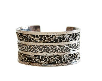 Lois Hill Cuff Bracelet Vintage Boho Style Sterling Filigree Scroll Hammered Silver Cuff