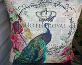 Peacock Pillow Cover, 18 x 18 Pillow Cover, French Chic Paris Home Decor