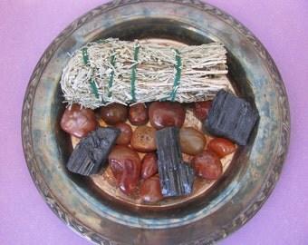 Smudge Kit, Sage Kit, Sage Bundle, Sage Incense, Sweetgrass, Smudge Bundle, Carnelian, Black Tourmaline, Crystal Healing, Sage Incense