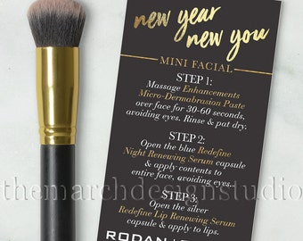 New Years Rodan and Fields Mini Facial Cards, Instant Download, Rodan and Fields New Year, Gold, Black