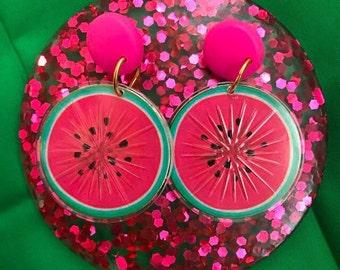 Mid Century hot Pink Watermelon Dangle Earrings