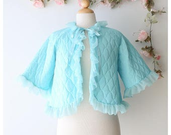 Girly 1960's Bed Jacket - Pastel Kawaii Ruffled Bed Jacket - Vintage Blue Quilted Lingerie Robe