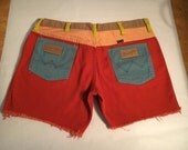 Vintage Peter Max for wrangler cut-off shorts