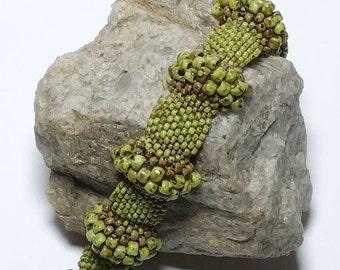 Peyote Bead Bracelet Green Bead Bracelet Picasso Bracelet 3D Bead Bracelet Peyote Bracelet Seed Bead Bracelet Bead Woven Bracelet