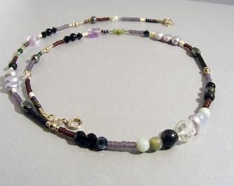 Purple, lavender mixed gemstone beaded necklace, single strand
