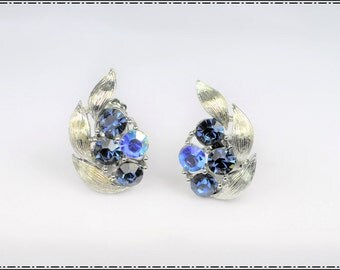 Blue  Lisner Earrings - Beautiful  Rhinestone Lisner Earrings,- Clipback   E762a-122316000