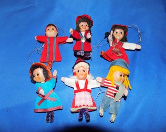 Vintage 50's Christmas Tree Ornaments Set Of 6 Pixie Dolls Vintage Ornaments Vintage Christmas Ornaments Free Shipping