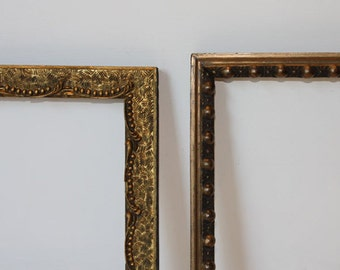 """2 Embossed Gold, Antique Picture Frames, Original Finish, One Curvy """"Hash Tag"""" Pattern, One Beaded Pattern, Sturdy & Ready to Use!"""