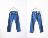vintage levis denim / Levis 501 / high waist / grunge / 1990s Levis 501 dark wash jeans 28