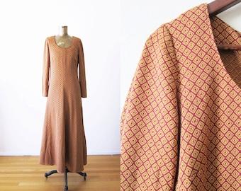 70s Dress / 1970s Maxi Dress / Long Sleeve Boho Maxi Dress / Rust Orange Bohemian Dress Medium