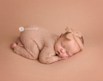 Newborn Girl  Photo Prop ,Overalls with Long Sleevers and Headband,Knitted set,Newborn Photo prop,Mohair set