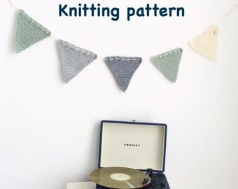 Knitting Pattern Garland Bunting Flags Instant Download