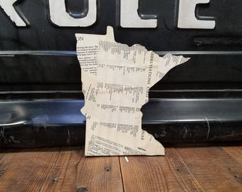 Minnesota Shaped Sign with Repurposed Book Pages