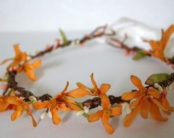Orange Flower Crown, Bridal Flower Crown, Fairy Tale Hair Wreath, Cottage Chic Flower, Barn Wedding Flower crown Woodland