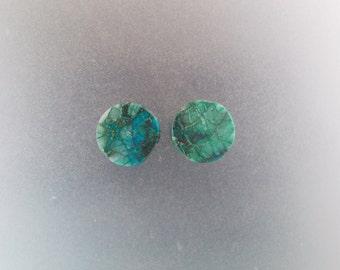 "Malachite Chrysocolla 5/8"", 16mm, 13mm thick ear plugs one pair"