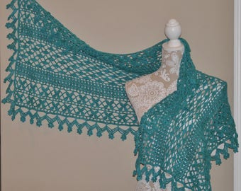 Floral Hand Crochet Scarf - Hand Crochet Delicate Lace Wrap - Light Blue Crocheted Prayer Shawl