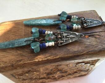 Rustic Primitive *Atlantis* Boho Bohemian Tribal Jewelry earrings n287- artisan jewelry . blue Kyanite crystal earrings . tribal tribalism