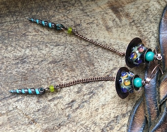 Rustic 'The Mystic Circus' earrings . borosilicate lamp work . artisan lamp work . multicolor festive mystery . fantasy abstract . bohemian