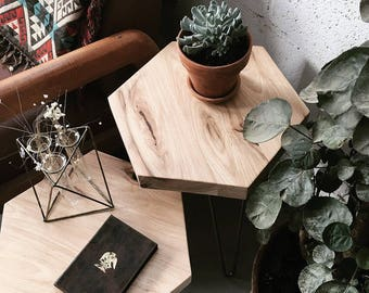 Mid Century Hickory Hexagon Side Table | Plant Stand