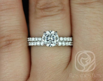 Rosados Box Sarah 6.5mm 14kt White Gold Round F1- Moissanite and Diamonds Classic Non-Cathedral Wedding Set