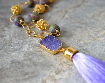 Boho purple druzy necklace Silk tassel necklace Long bead tassel pendant Lampwork glass beaded gold chain necklace Bohemian jewelry