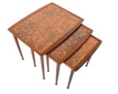 Danish Mid Century Modern Rosewood + Copper Nesting Tables