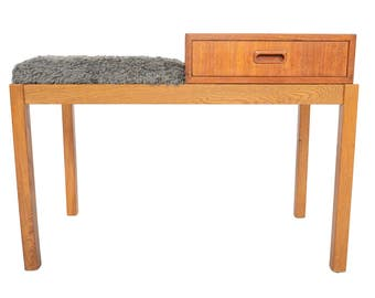 Danish Modern Teak + Oak Mid Century Telephone Bench