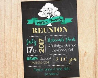 Family Reunion Invitation. PRINTABLE. teal and gold DIGITAL customized. family tree