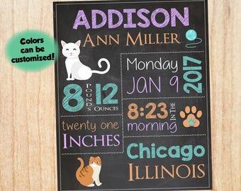 Cat Birth Announcement Sign. PRINTABLE new baby kitty cat nursery art. DIGITAL  cat birth stats chalkboard print. new baby gift