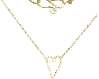 Heart Love Pendant Minimal Necklace, fine chain, gold fill, sterling silver, rose gold fill, Necklace 374