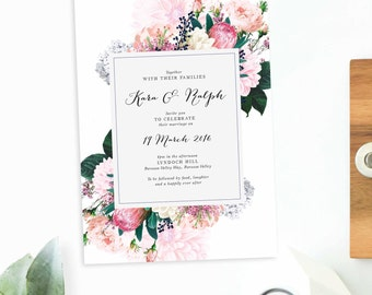Floral Vintage Wedding Invitation Pink Cream White Navy Flowers Protea Wedding Invite Custom Wedding Stationery Elegant Classic Bouquet