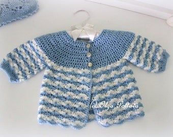 Newborn Baby Sweater Crochet Pattern, Crochet Baby Jacket Size 0-3 Months Pattern, Instant PDF Download