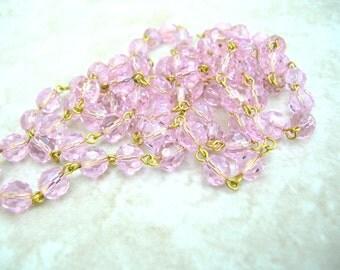 40 Inches Handmade Bead Chain - Pink Bead Chain - Bead Chain Lot - Boho Bead Chain - 8mm