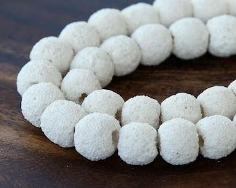 Lava Beads, White, 10mm Round - 15 inch Strand - eGR-LV801-10