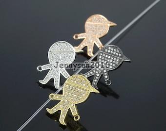 Clear Zircon Gemstones Pave Boy Bracelet Connector Charm Beads Silver Gold Rose Gold Gunmetal