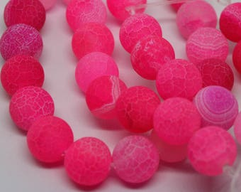 Bright Pink Rose - Frost Crackle Natural Agate - 10mm  Round Gemstone Beads - Qty 20