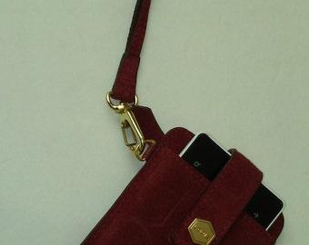 Lodis Red Suede Phone Wristlet Vintage