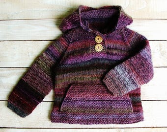 Toddler Girls Hooded Sweater - Hand Knitted Girls Clothing Size 2T - Purple Girls Hoodie - Baby Girls Sweater