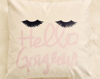 Glam Eyelashes Velveteen Pillow Cover 18 x 18, Eyelashes Style Statement, Pillow Decor, Handmade Throw Pillow Cover
