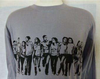we are one vintage 90's Calvin Klein CK One gray long sleeve t-shirt black back front sleeve promo illustration logo print oversized Large