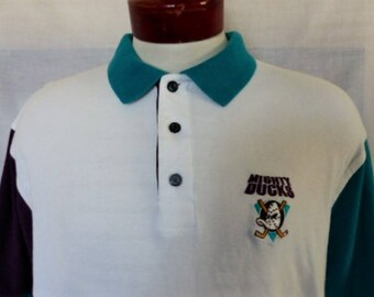 vintage 90's Mighty Ducks of Anaheim NHL Hockey purple teal green white color block pique knit polo shirt embroider old school logo Large