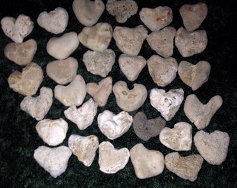 36 Medium Heart Shape Beach Stones, Aquarium Decor, Valentines Day, Weddings, Valentine's Day c22