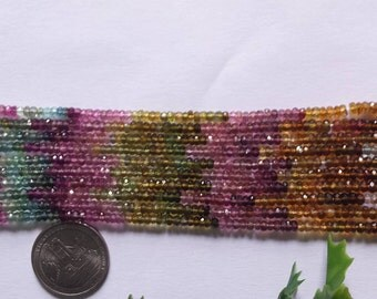 SALE Natural Multi Tourmaline Faceted Rondelle Beads ,3 mm,Grade :AA,13 inch strand