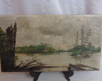 Rustic Oil Painting, Primitive Oil On Canvas