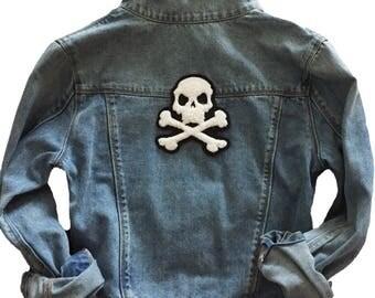 Custom Denim Jacket with Skull and Crossbones Patch