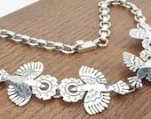 Mexican Silver Jewelry Vintage Sterling Necklace 925 Cony bird peyote flower Taxco Hecho en Mexico